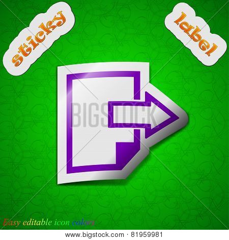 Send Export File Icon Sign. Symbol Chic Colored Sticky Label On Green Background. Vector
