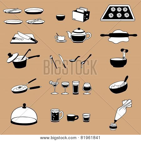 Silhouette Line Drawing Kitchenware Icon Set, Create By Vector