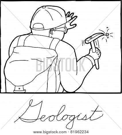 Outline Frame Of Geologist