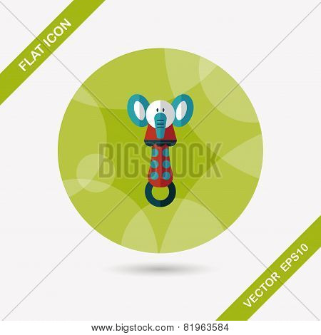 Baby Rattle Flat Icon With Long Shadow,eps 10