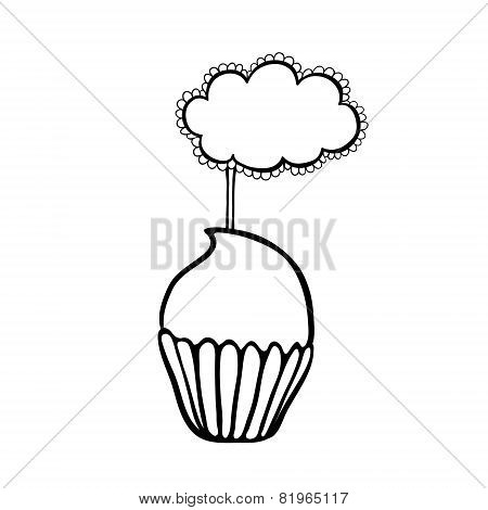 Cupcake sketch with frilly cloud topper