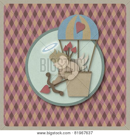 Cupid Shoot Bow In Hot Air Balloon Retro Background, Recycled Paper Craft