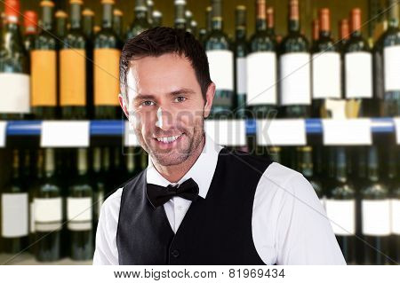 Portrait Of Young Cheerful Waiter