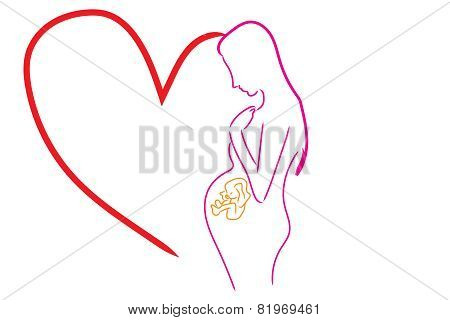 vector pregnancy love of mom
