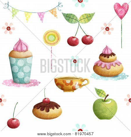 Happy Birthday pattern made of cupcake,cherry, apple, candies,flowers.Birthday background.
