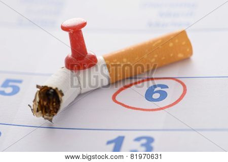 Pushpin Attached To Broken Cigarette
