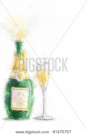 Bottle of champagne with splashes isolated on white background with the glass.Party invitation.