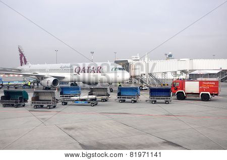 Airplane Of Qatar Airways In Budapest, Hungary