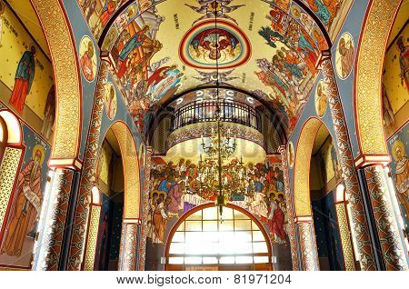 Orthodox Church Interior With Painted Murals