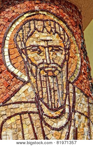 Saint Peter Apostle Made From Mosaic On A Column