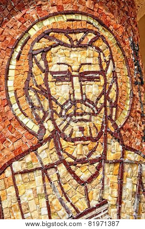 Mosaic Of Saint Mark Apostle On A Column