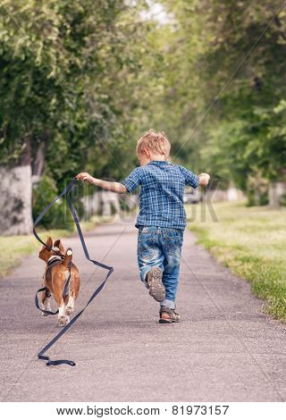 Little Boy Running With His Beagle Puppy
