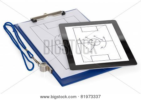 Soccer Tactic Diagram On Digital Tablet And Paper