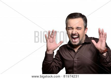 Scared Screaming Man Portrait - Stock Photo