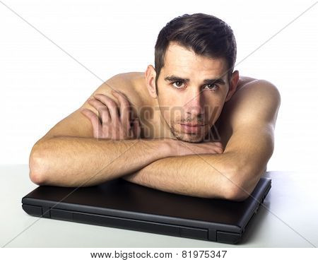 Naked Man With Laptop
