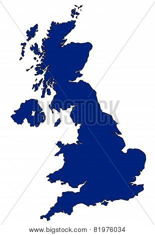 Map of UK in blue