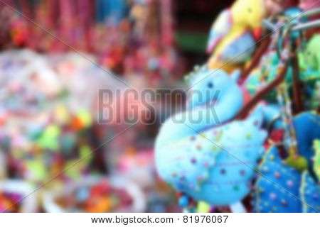 Blurry Image Of Colorful Handmade Souvenir Key Chain