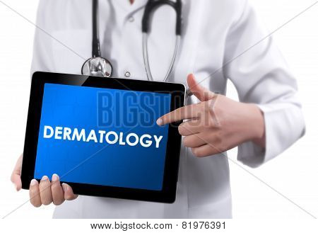 Doctor Showing Tablet With Dermatology Text.