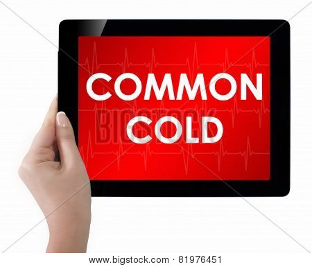 Doctor Showing Tablet With Common Cold Text.