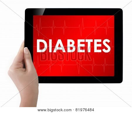 Doctor Showing Tablet With Diabetes Text.