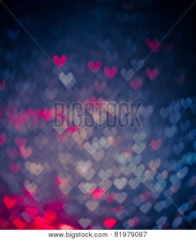 Blue And Pink Hearts Bokeh As Background