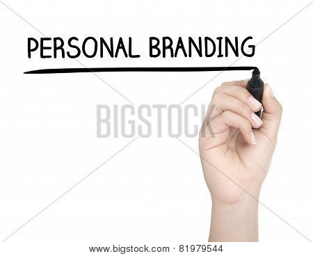 Hand With Pen Writing Personal Branding On Whiteboard