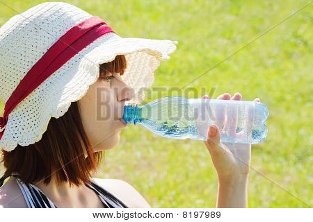 Girl Drinking Water Outdoor