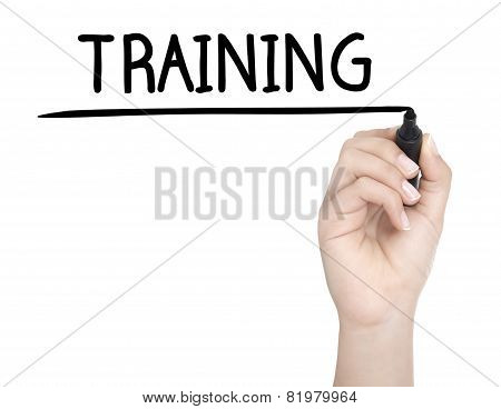 Hand With Pen Writing Training On Whiteboard