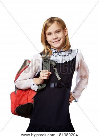 Girl Standing With School Bag Isolated