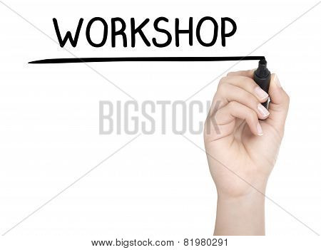 Hand With Pen Writing Workshop On Whiteboard