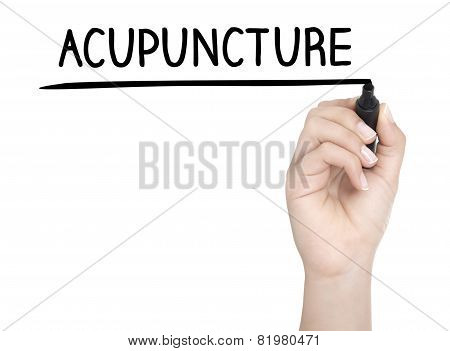 Hand With Pen Writing Acupuncture On Whiteboard