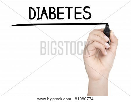 Hand With Pen Writing Diabetes On Whiteboard