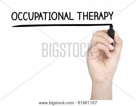 Hand With Pen Writing Occupational Therapy On Whiteboard