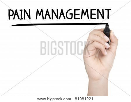 Hand With Pen Writing Pain Management On Whiteboard