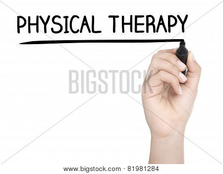 Hand With Pen Writing Physical Therapy On Whiteboard