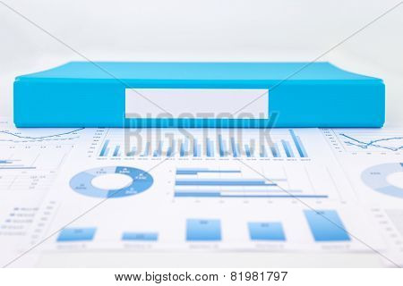 Blank Blue Folder With Analytic Graph And Business Reports
