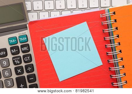 Blank Blue Paper On Note Book