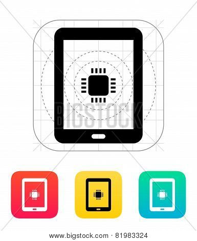 Tablet CPU icon. Vector illustration.