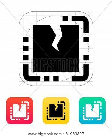 Broken CPU icon. Vector illustration.