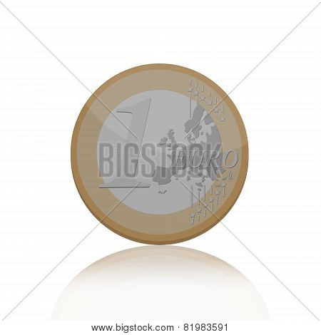 Vector illustration of one Euro coin with reflection on white background