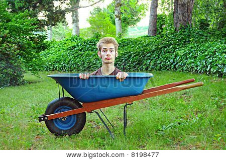 Wheelbarrow With Man Inside