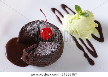 Chocolate Fondant And  Ice Cream Closeup. Horizontal Top View