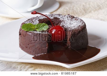 Chocolate Fondant With Cherries And And Coffee. Horizontal