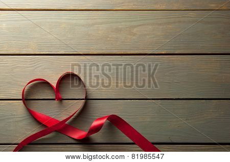 Heartshape Red Ribbon With Space