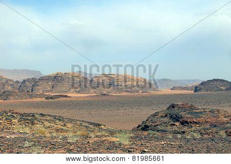 Mountains In The Immense Desert In Jordan