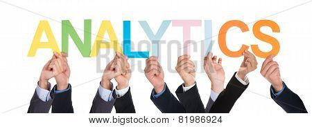 Group Of Hands With Word Analytics