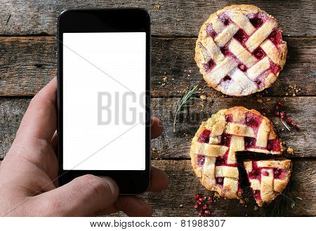 Couple Of Tart Cakes And Blank Screen