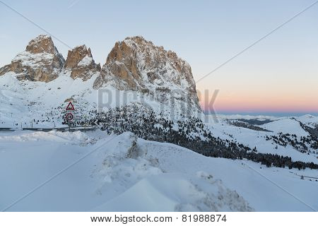Sassolungo From Gardena Mountain Pass In The Dolomites