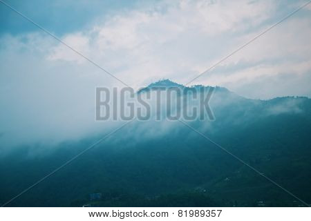 Morning Fog Landscape With Mountains
