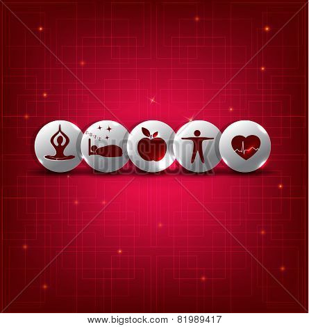 Healthy Living Symbol Set On A Abstract Red Background